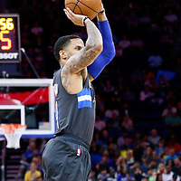 25 February 2017: Orlando Magic guard D.J. Augustin (14) takes a jump shot during the Orlando Magic 105-86 victory over the Atlanta Hawks, at the Amway Center, Orlando, Florida, USA.