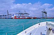 Miami, FL, Gantry Cranes,  Intracoastal Waterway; Port of Miami;  62' Nordhaven; USA;  Miami, Florida, USA, Atlantic Coast