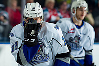 KELOWNA, BC - MARCH 11: Tarun Fizer #18 of the Victoria Royals skates to the bench after a high stick against the Kelowna Rockets at Prospera Place on March 11, 2020 in Kelowna, Canada. (Photo by Marissa Baecker/Shoot the Breeze)