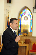 10/17/10 12:24:52 PM -- Darby, PA<br />  -- Democratic Congressional candidate Bryan Lentz speaks with the congregation of First Baptist Church October 17, 2010  in Darby, Pennsylvania. Bryan Lentz  faces Republican Pat Meehan  in the Nov. 2 general election.   --  Photo by William Thomas Cain/Cain Images