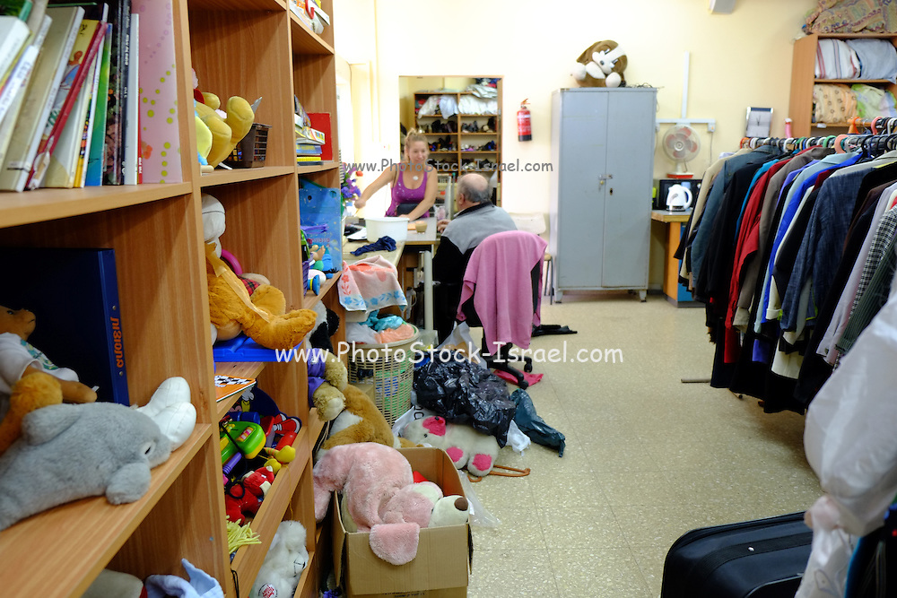 Second hand clothes shop in Emek Hefer, Israel