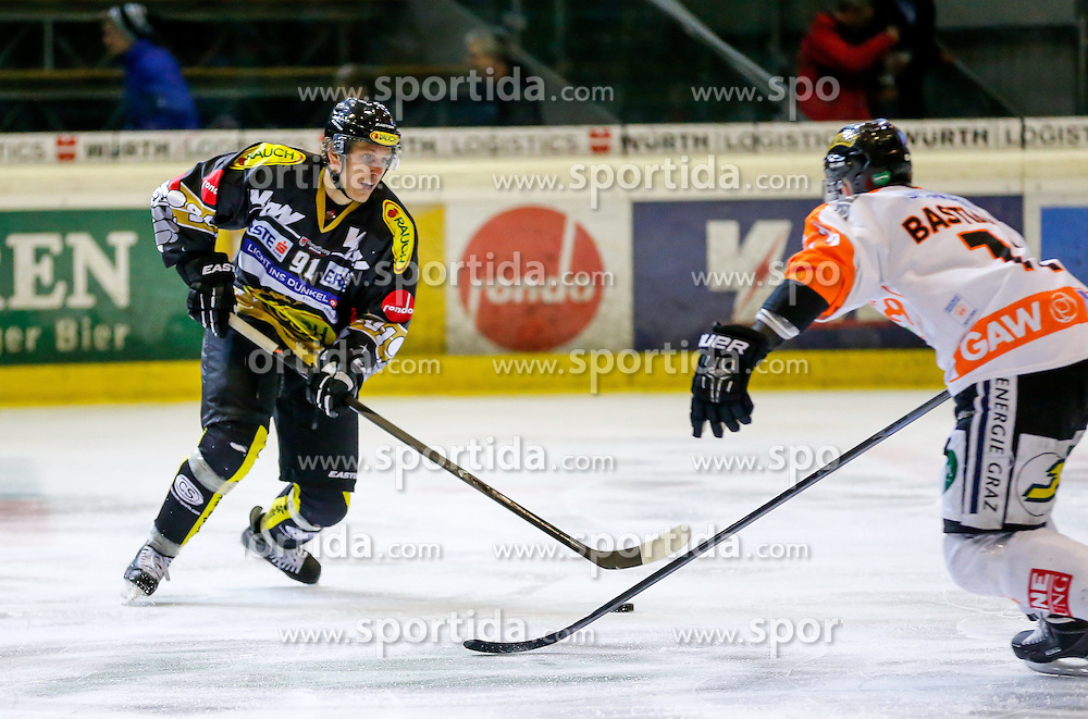 07.12.2014, Messestadion, Dornbirn, AUT, EBEL, Dornbirner EC vs Moser Medical Graz 99ers, 25. Runde, im Bild Martin Grabher Meier, (Dornbirner EC, #91) // during the Erste Bank Icehockey League 25th round match between Dornbirner EC and Moser Medical Graz 99ers at the Messestadion in Dornbirn, Austria on 2014/12/07, EXPA Pictures © 2014, PhotoCredit: EXPA/ Peter Rinderer
