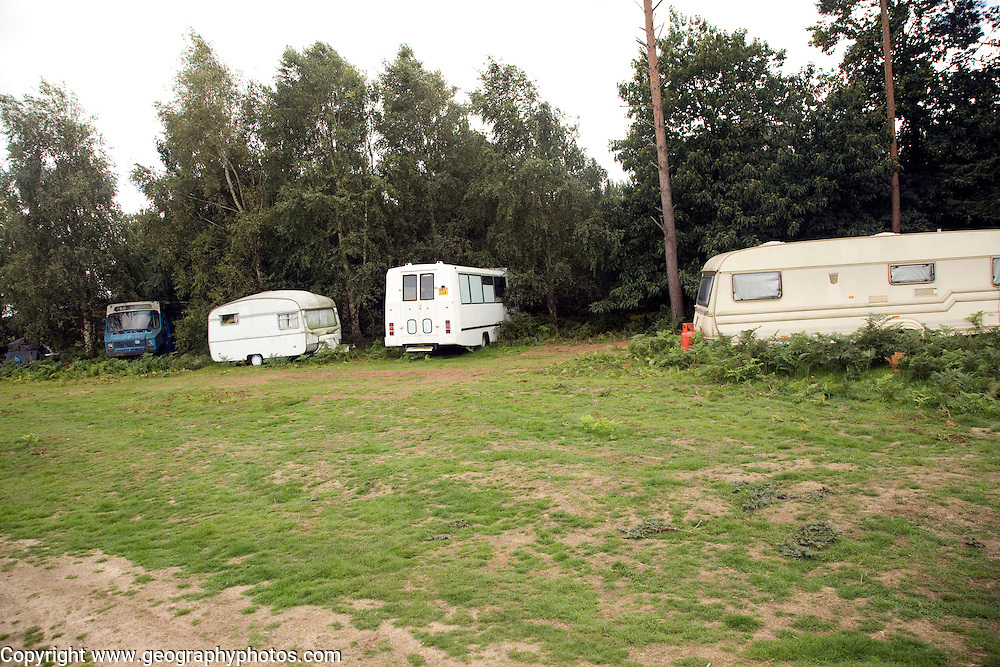 Small new age travellers site Sutton Heath, Suffolk, England