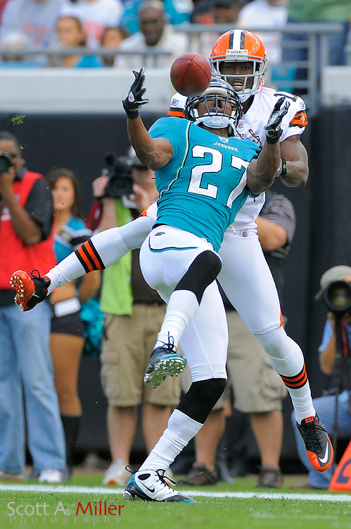 Jacksonville Jaguars cornerback Rashean Mathis (27) breaks up a pass intended for Cleveland Browns wide receiver Mohamed Massaquoi (11) during the Jags game against the Browns at EverBank Field on Nov. 21, 2010 in Jacksonville, Florida...©2010 Scott A. Miller