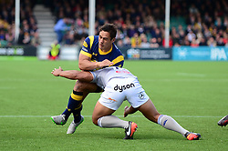 Jackson Willison of Worcester Warriors is tackled by Ben Tapuai of Bath Rugby - Mandatory by-line: Dougie Allward/JMP - 15/04/2017 - RUGBY - Sixways Stadium - Worcester, England - Worcester Warriors v Bath Rugby - Aviva Premiership