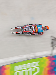 """15.01.2012, Bobbahn Igls, Innsbruck, AUT, Olympische Jugend Winterspiele, Rodeln, Herren, im Bild John Fennell (CAN) // John Fennell (CAN) during the Mens Luge of the Winter Youth Olympic Games at the """"Bob Track Igls"""", Innsbruck, Austria on 2012/01/15, EXPA Pictures © 2012, PhotoCredit: EXPA/ Juergen Feichter"""