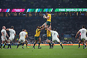 Australia's second rower Rob Simmons winning an uncontested line out during the Rugby World Cup Pool A match between England and Australia at Twickenham, Richmond, United Kingdom on 3 October 2015. Photo by Matthew Redman.