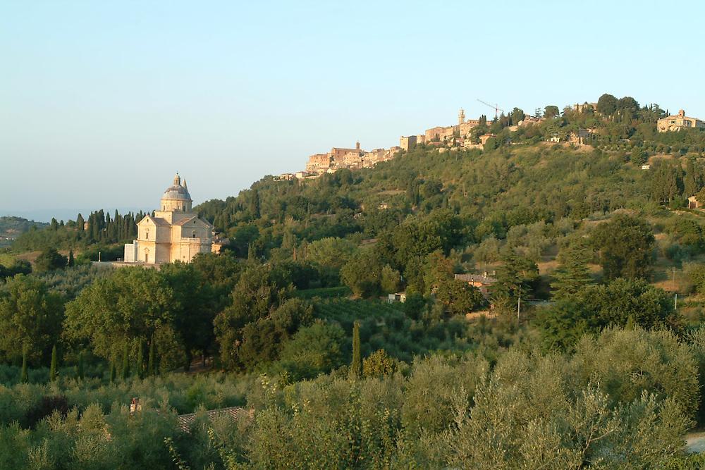 Church of Santa Maria with the city of Cortona, Italy in the background. Tuscany
