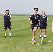 Dundee manager Paul Hartley watches new boy Julen Etxabeguren go through his paces - Dundee pre-season training at University grounds, Riverside<br /> <br />  - &copy; David Young - www.davidyoungphoto.co.uk - email: davidyoungphoto@gmail.com