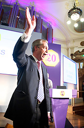 UKIP Leader Nigel Farage waves to the audience after his Keynote Speech at UKIP's annual conference, Central Hall, Westminster, London, United Kingdom. Friday, 20th September 2013. Picture by Elliot Franks / i-Images