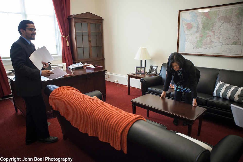 Representative Pramila Jayapal (D-WA, 7) straightens the table in her office, before doing a phone interview from her congressional office, on Tuesday, January 31, 2017.  John Boal photo/for The Stranger