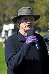 Feb 8, 2012; Pebble Beach CA, USA; Movie actor Bill Murray addresses the crowd on the second hole during the celebrity challenge of the AT&T Pebble Beach Pro-Am at Pebble Beach Golf Links. Mandatory Credit: Jason O. Watson-US PRESSWIRE