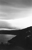 Killiney Bay in Dublin Ireland, black and white grainy film used