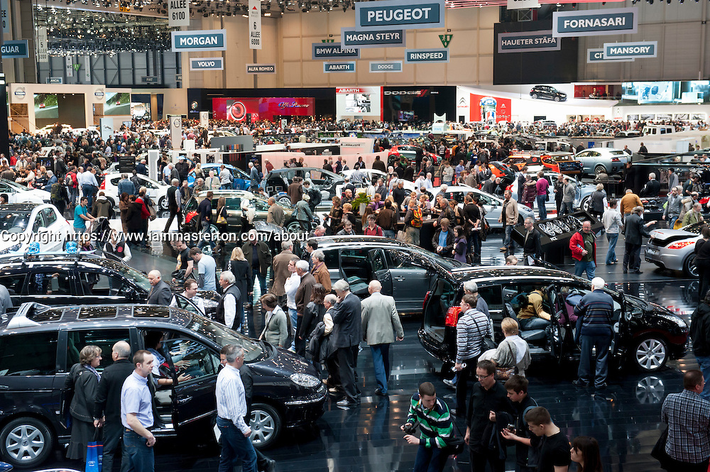 Busy hall at the Geneva Motor Show 2011 Switzerland