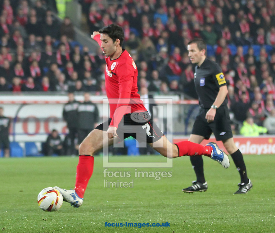 Picture by Mike  Griffiths/Focus Images Ltd +44 7766 223933.19/02/2013.Peter Whittingham of Cardiff City takes a shot at goal against Brighton and Hove Albion during the npower Championship match at the Cardiff City Stadium, Cardiff.