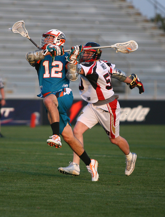 May 27, 2007 - Carson, California. <br /> Los Angeles Riptide midfielder Graham Gill (#12) shoots <br /> The Los Angeles RIPTIDE defeated the New Jersey PRIDE in their home opener at the Home Depot Center, 15-9...