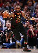 CLEVELAND, OH - JANUARY 15: LeBron James #23 of the Cleveland Cavaliers brings the ball up court during the game against the Golden State Warriors at Quicken Loans Arena on January 15, 2018 in Cleveland, Ohio. NOTE TO USER: User expressly acknowledges and agrees that, by downloading and or using this photograph, User is consenting to the terms and conditions of the Getty Images License Agreement.(Photo by Michael Hickey/Getty Images) *** Local Caption *** LeBron James