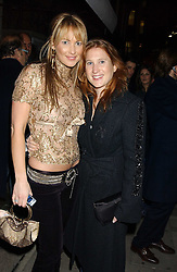 Left to right, sisters ADELA KING and JOE GRIST at a party to launch a new stor for tailors Pogson & Davis in Davies Street, London W1 on 15th December 2005.<br />