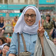 Women wearing hijab at West End Live 2019 - Day 2 in Trafalgar Square, on 23 June 2019, London, UK.