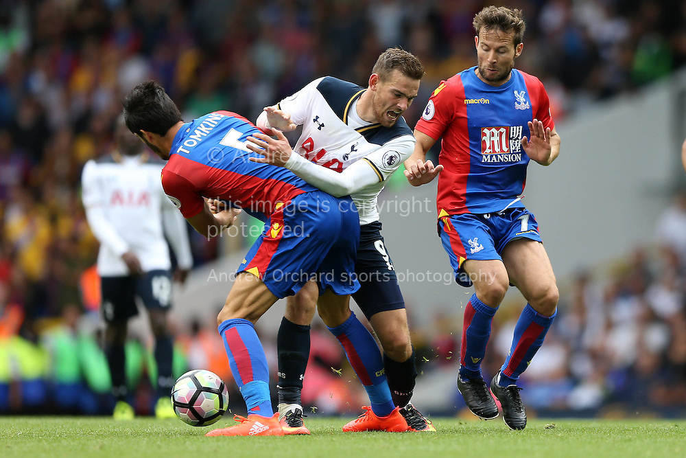 Vincent Janssen of Tottenham Hotspur is challenged by James Tomkins of Crystal Palace. Premier league match, Tottenham Hotspur v Crystal Palace at White Hart Lane in London on Saturday 20th August 2016.<br /> pic by John Patrick Fletcher, Andrew Orchard sports photography.