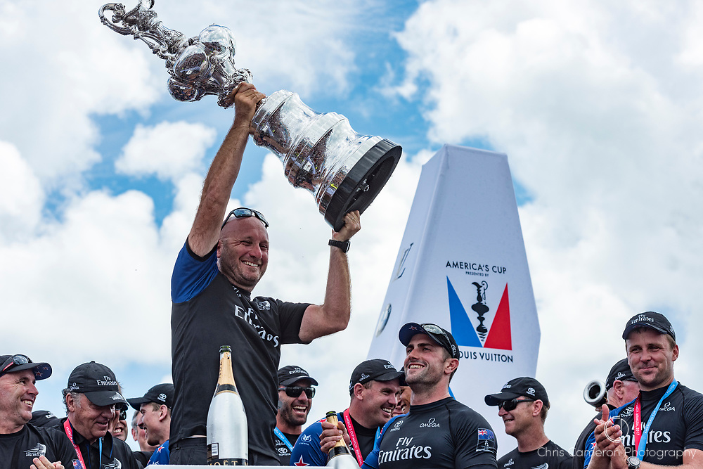 The America's Cup Village, Bermuda, 26th June 2017. Emirates Team New Zealand Technical advisor, Max Sirena with the America's Cup.