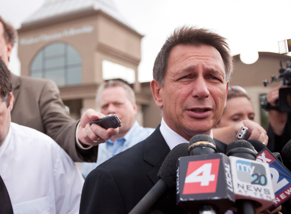 Detroit Red Wings General Manager Ken Holland speaks to reporters at the funeral for Wings enforcer Bob Probert at the Windsor Christian Fellowship church in Windsor, Ontario July 9, 2010 as he was laid to rest after his sudden death earlier this week at the age of 45.<br /> The Canadian Press/GEOFF ROBINS