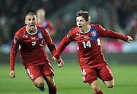Fussball International, Nationalmannschaft   EURO 2012 Play Off, Qualifikation, Tschechische Republik - Montenegro        11.11.2011 JUBEL nach dem TOR zum 1:0 Jan Rezek , Vaclav Pilar (v. li., Tschechische Republik)