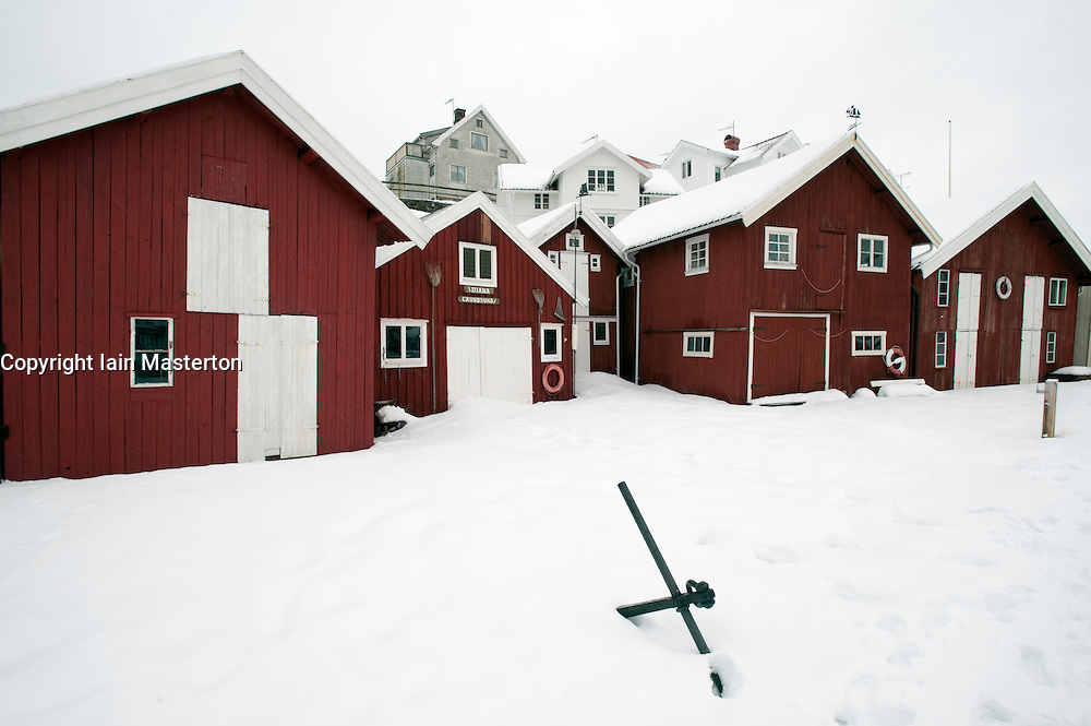 View of traditional village of Grundsund during winter on Bohuslan coast in Sweden
