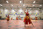 Armada Winterguard and Shadow Indoor Percussion perform throughout the Oregon School District for Fine Arts Tour in Oregon, Wisconsin on April 8, 2015.