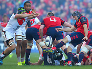 Duncan Williams of Munster and Francois Cros of Stade Toulousain during the European Rugby Champions Cup match at Thomond Park, Limerick<br /> Picture by Yannis Halas/Focus Images Ltd +353 8725 82019<br /> 01/04/2017