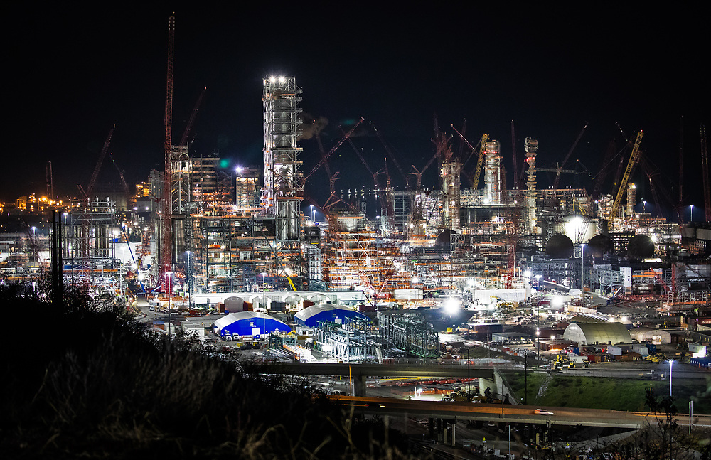 """Shell's sprawling plastics plant , also known as an """"ethane cracker,"""" under construction in Beaver County, Pennsylvania. The plant is part of  the growing petrochemcial industry in the United States. The  expanding shale gas industry has been building demand for fossil fuels from its fracked oil and gas wells by promoting turning its products into plastics and petrochemicals."""