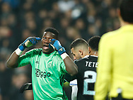 FOOTBALL: Andre Onana (Ajax Amsterdam) disagrees with the goal line referee during the UEFA Europa League round of 16, first leg, match between FC København and AFC Ajax at Parken Stadium, Copenhagen, Denmark on Marts 9, 2017. Photo: Claus Birch
