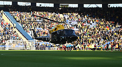 General view as a helicopter delivers the match ball as part of the Remembrance Day events  - Mandatory byline: Jack Phillips/JMP - 07966386802 - 7/11/2015 - SPORT - FOOTBALL - Leicester - King Power Stadium - Leicester City v Watford - Barclays Premier League