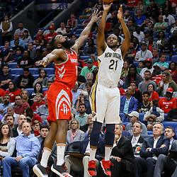 Mar 17, 2018; New Orleans, LA, USA; New Orleans Pelicans forward Darius Miller (21) shoots over Houston Rockets guard James Harden (13) during the second half at the Smoothie King Center. The Rockets defeated the Pelicans 107-101. Mandatory Credit: Derick E. Hingle-USA TODAY Sports