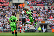 Forest Green's Kurtis Guthrie and Grimsby Town's Craig Clay during the Conference Premier Final match between Forest Green Rovers and Grimsby Town FC at Wembley Stadium, London, England on 15 May 2016. Photo by Shane Healey.