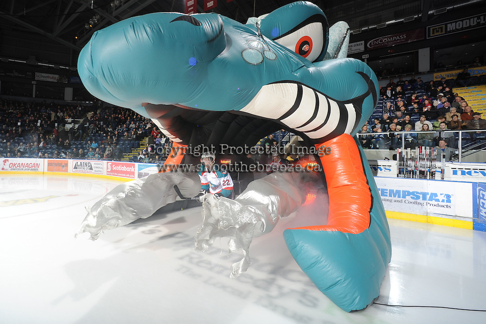 KELOWNA, CANADA, FEBRUARY 17:  Mackenzie Johnston #22  of the Kelowna Rockets enters the ice against the Calgary Hitmen at the Kelowna Rockets on February 17, 2012 at Prospera Place in Kelowna, British Columbia, Canada (Photo by Marissa Baecker/Shoot the Breeze) *** Local Caption ***