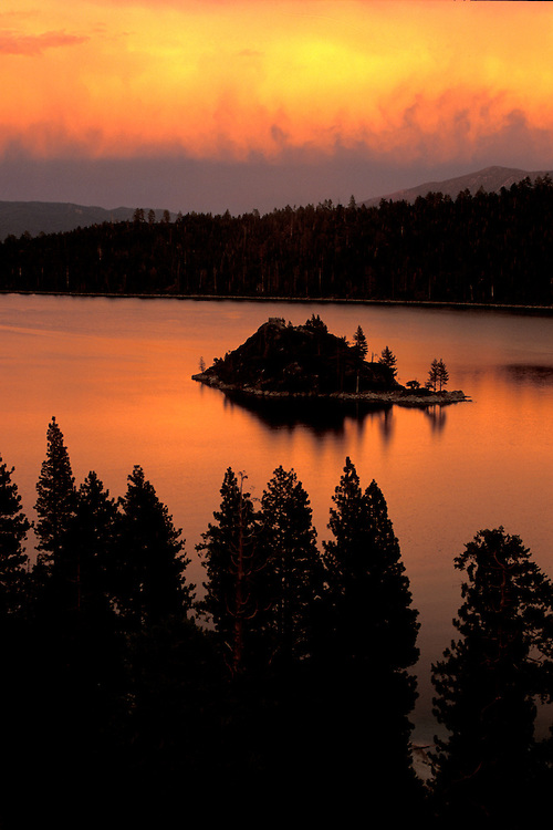 Fiery sunset at Emerald Bay on Lake Tahoe, CA