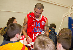 Doug McLaughlin-Williams of Bristol Flyers signs autographs for supporters after defeating Leeds Force at SGS Wise Arena - Photo mandatory by-line: Paul Knight/JMP - Mobile: 07966 386802 - 30/01/2016 - BASKETBALL - SGS Wise Arena - Bristol, England - Bristol Flyers v Leeds Force - British Basketball League