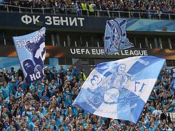 October 19, 2017 - St. Petersburg, Russia - October 19, Russia, St. Petersburg, UEFA Europa League 2017 /18- FC Zenit-FC Rosenborg. Supporters of FC Zenit. (Credit Image: © Russian Look via ZUMA Wire)