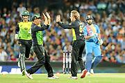 Aaron Finch celebrates with Adam Zampa after he takes the wicket of Rohit Sharma. T20 international, Australia v India. Sydney Cricket Ground, NSW, Australia, 25 November 2018. Copyright Image: David Neilson / www.photosport.nz