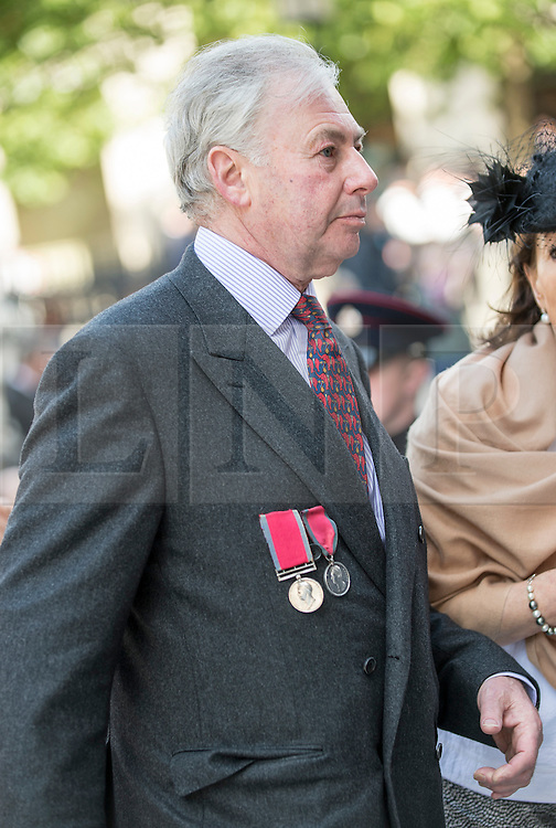 © London News Pictures. 18/06/2015. London, UK. Ancestors of soldiers who fought in Waterloo atttend a service of commemoration at St Paul's Cathedral to mark the 200th Anniversary of the Battle of Waterloo.  The gentleman has his Great Great Grandfathers and Uncle's Waterloo medal. Photo credit: Sergeant Rupert Frere/LNP
