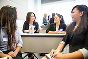 Glaiza Julian, Phuong Do, Jasmine Ubario, Kymberly Okamoto during the first event of the Mihaylo College of Business and Economics Women's Leadership Program at California State University Fullerton  on Friday, Nov. 6, 2015 in Fullerton, California.