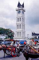 West Sumatra, Bukittinggi. Jam Gadang, the characteristic clock tower, a landmark in Bukittinggi. The structure was built in 1926 during the Dutch colonial era.