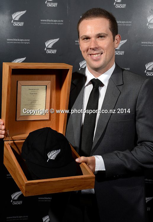 Todd Astle poses for a picture with his Test Cap at the 2013/14 New Zealand Cricket Annual Awards dinner at the Langham Hotel in Auckland, New Zealand. Photo: Andrew Cornaga/www.Photosport.co.nz