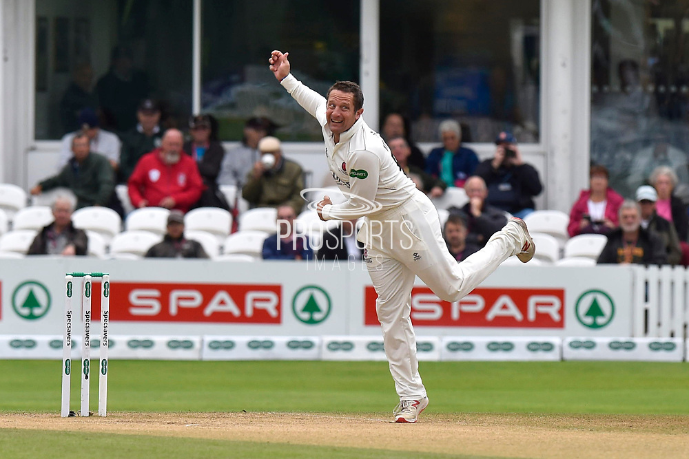 Roelof van der Merwe of Somerset bowling during the Specsavers County Champ Div 1 match between Somerset County Cricket Club and Essex County Cricket Club at the Cooper Associates County Ground, Taunton, United Kingdom on 26 September 2019.