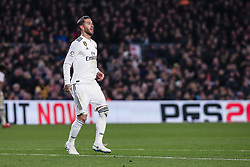 February 6, 2019 - Barcelona, Spain - 04 Sergio Ramos of Real Madrid during the semi-final first leg of Spanish King Cup / Copa del Rey football match between FC Barcelona and Real Madrid on 04 of February of 2019 at Camp Nou stadium in Barcelona, Spain  (Credit Image: © Xavier Bonilla/NurPhoto via ZUMA Press)