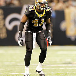 December 4, 2011; New Orleans, LA, USA; New Orleans Saints safety Roman Harper (41) against the Detroit Lions during a game at the Mercedes-Benz Superdome. The Saints defeated the Lions 31-17. Mandatory Credit: Derick E. Hingle-US PRESSWIRE