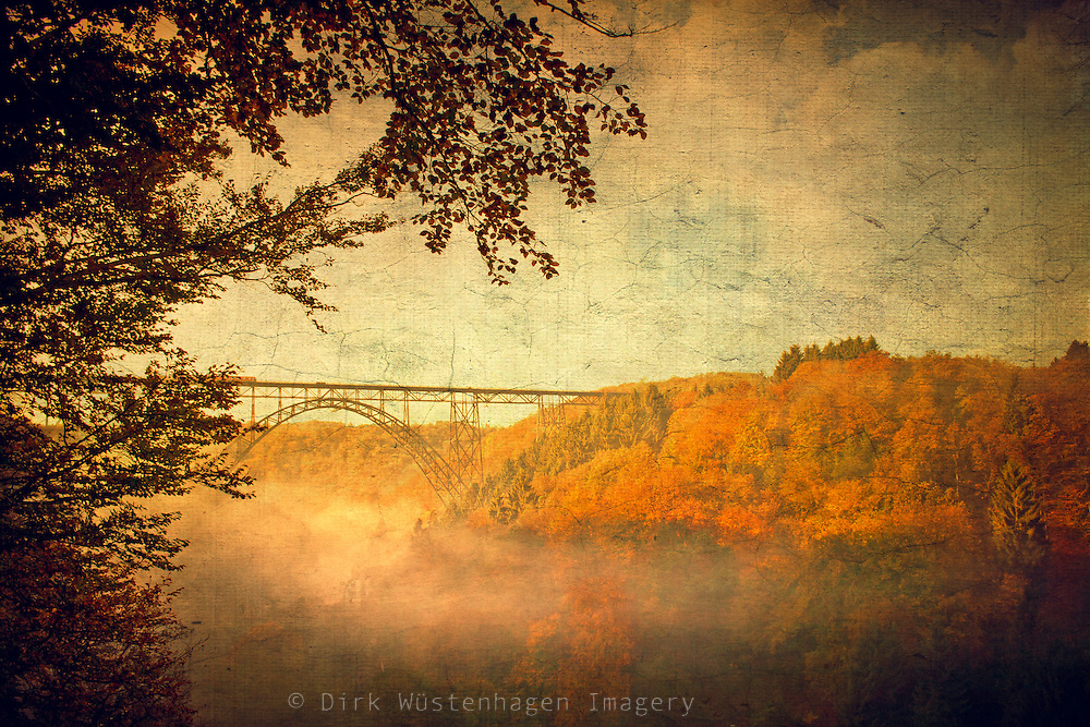 View on Müngstener Brücke, Germany on a misty autumn morning