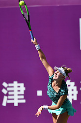 TIANJIN, Oct. 8, 2018  Alison Riske of the United States serves during the women's singles first round match against Veronika Kudermetova of Russia at the WTA Tianjin Open tennis tournament in Tianjin, China, Oct. 8, 2018. Alison Riske lost 1-2. (Credit Image: © Li Ran/Xinhua via ZUMA Wire)