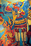 MEXICO, MEXICO CITY, MUSEUM Cacaxtla; 'Battle Mural' of warrior